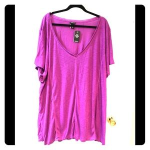 NWT Torrid 6x fuchsia high low v-neck t-shirt